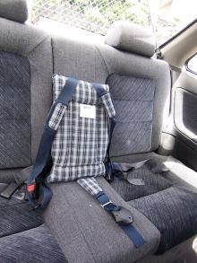 二点式のシートベルトでトラベルベストを固定した様子