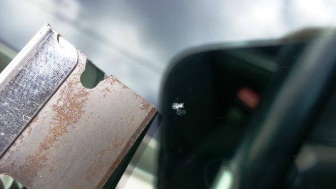 フロントガラスの飛び石傷をDIYリペア後