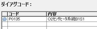 O2センサヒータ系統B1S1のエラー(拡大)