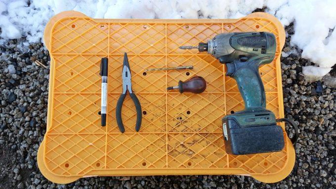 ペダルカバーを取り付ける際に使った道具