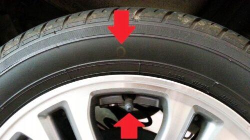 タイヤに付いている赤や黄色のマークの意味